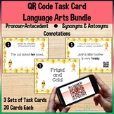 QR Code Task Cards Language Arts Bundle Self-Checking for Distance Learning