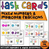 QR Code Task Cards: Mixed Numbers and Improper Fractions