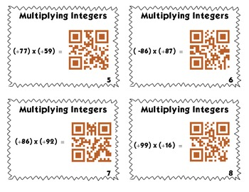 QR Code Task Cards: Multiplying 2-Digit Integers