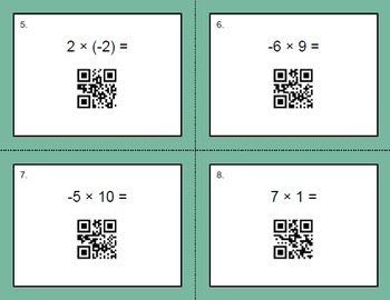 QR Code Task Cards: Multiplying Integers