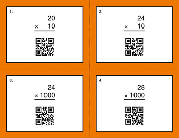 QR Code Task Cards: Multiplying by 10, 100, and 1000