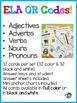 Nouns, Verbs, Adjectives, Adverbs, & Pronouns QR Code Task Cards ELA L.3.1.A