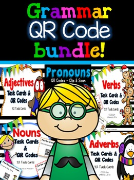 QR Code Task Cards (Nouns, verbs, adjectives, adverbs & pr