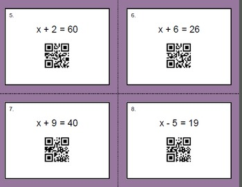 QR Code Task Cards: One Step Equations (Addition & Subtraction)