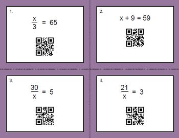 QR Code Task Cards: One Step Equations (Mixed Operations)