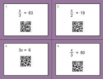 QR Code Task Cards: One Step Equations (Multiplication & Division)