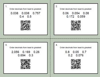 QR Code Task Cards: Ordering Decimals