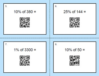 QR Code Task Cards: Percents