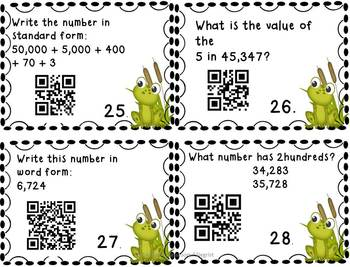 QR Code Task Cards: Place Value Rounding, Comparing, Ordering, Number Forms