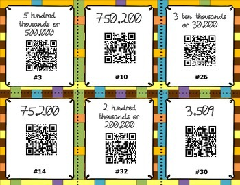 QR Code Task Cards - Place Value to Millions