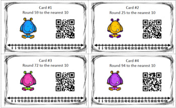 Rounding to the nearest 10 QR Code Task Cards Scoot Monster Theme