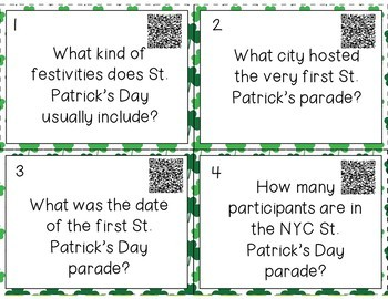 QR Code Task Cards - St. Patrick's Day Theme