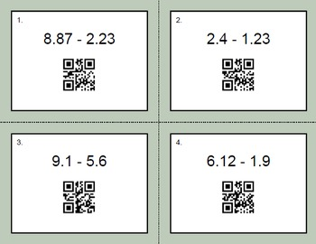 QR Code Task Cards: Subtracting Decimals