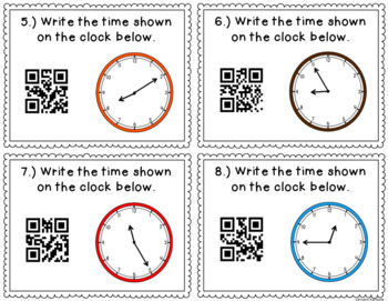 QR Code Task Cards: Telling Time to the Nearest 5 Minutes