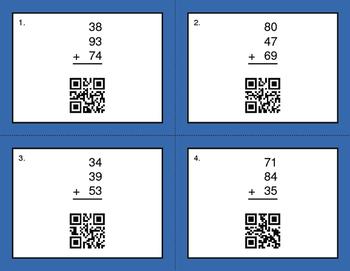 QR Code Task Cards: Three 2-Digit Addition