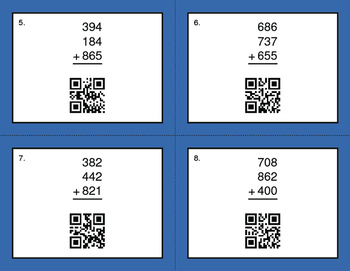 QR Code Task Cards: Three 3-Digit Addition