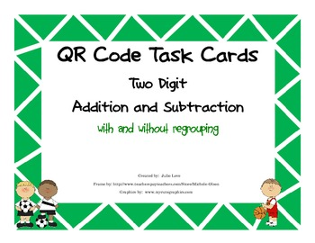 QR Code Task Cards Two Digit Addition and Subtraction