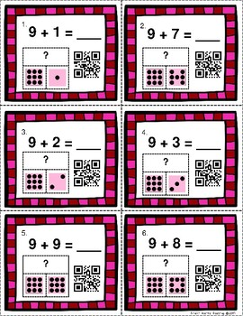 QR Code Task Cards: Valentine Themed Additions Facts 9-10