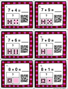 QR Code Task Cards: Valentine Themed Addition Facts 7-8