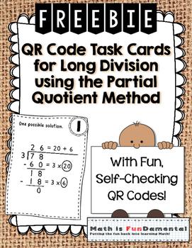 {FREEBIE} Sample QR Code Task Cards for Partial Quotient M