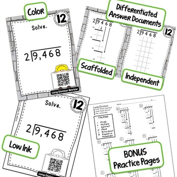 QR Code Task Cards for Long Division with 3 & 4 Digit Dividends