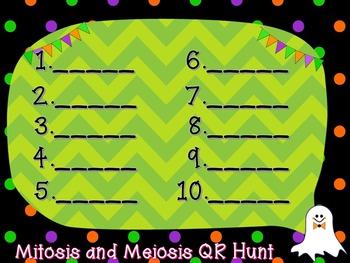 QR Code Task Rotation on Mitosis and Meiosis - Halloween Edition