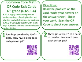 QR Code Task cards Grade 6 Number Systems 2 (Fractions, etc) Common Core Aligned