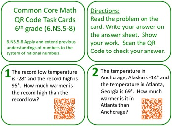 QR Code Task cards Grade 6 Number Systems Common Core Aligned