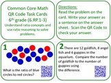QR Code Task cards Grade 6 Ratios, Proportional Relationship Common Core Aligned