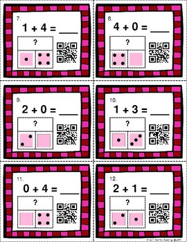 QR Code Task Cards: Valentine Themed Addition Facts 0-6