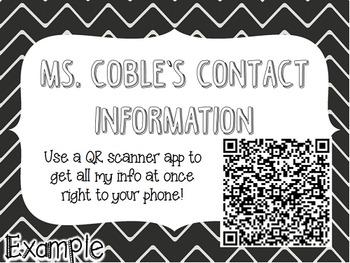 QR Code Teacher Contact Information Poster {Editable}