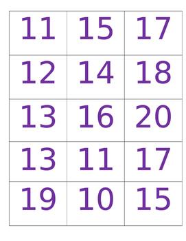 QR Code Teen Number Bingo
