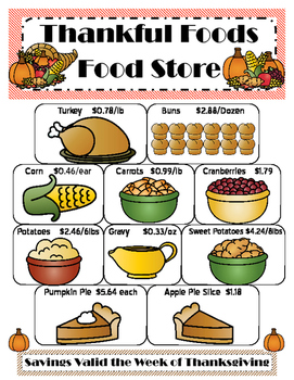 QR Code Thankful Foods Food Store Math Activities