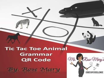 QR Code Tic-Tac-Toe Animal Grammar