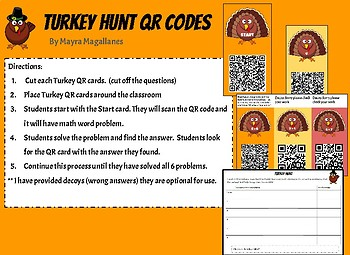 QR Code Turkey Scavenger Hunt (Addition and Subtraction word problems)