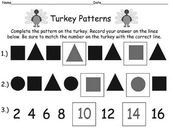 QR Code Turkey Task Cards What's My Pattern - Identifying&Completing Patterns BW