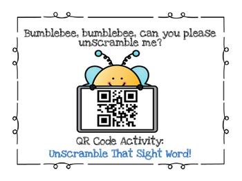 QR Code ~ Unscramble that Sight Word!