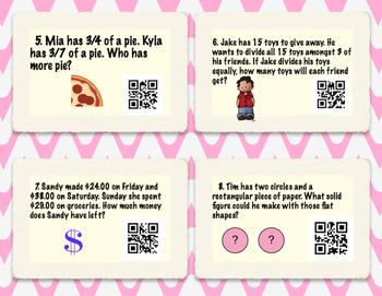 Math Word Problem QR Task Cards