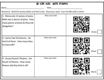 QR Code Word Problems: 1st Grade