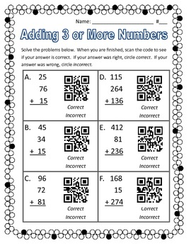 QR Code Worksheet: Adding Three (3) Numbers