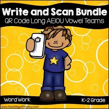 QR Code Write and Scan Long AEIOU Vowel Teams Bundle