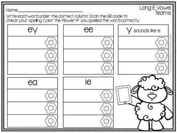QR Code Write and Scan Long E Vowel Teams