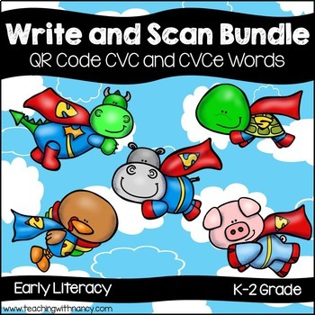 QR Code Write and Scan Super Hero CVC and CVCe Bundle