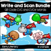 QR Code Write and Scan Super Hero CVC and CVCe Bundle