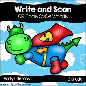QR Code Write and Scan Super Hero Dragon CVCe Words