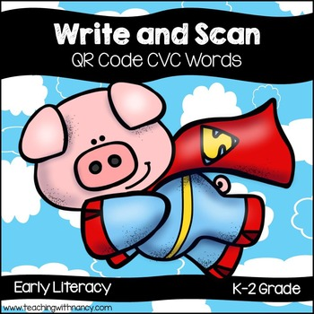 QR Code Write and Scan Super Hero Pig CVC Words
