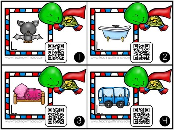 QR Code Write and Scan Super Hero Turtle CVC Words