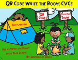 "QR Code ""Write the Room"" or Task Cards: Camping themed (CVCe)"