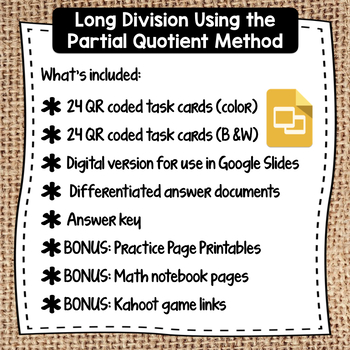 QR Coded Task Cards for Partial Quotient Method for Long Division