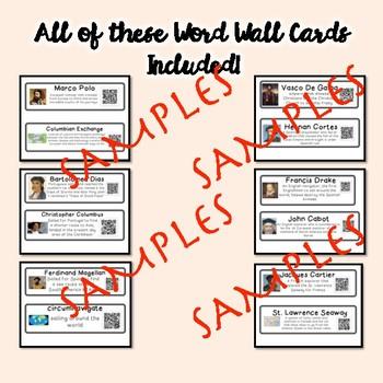 QR Coded Word Wall-European Exploration